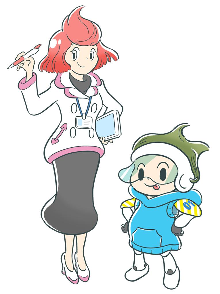左:深井藍(ふかい あい) 博士、 右:マナブ(01号)