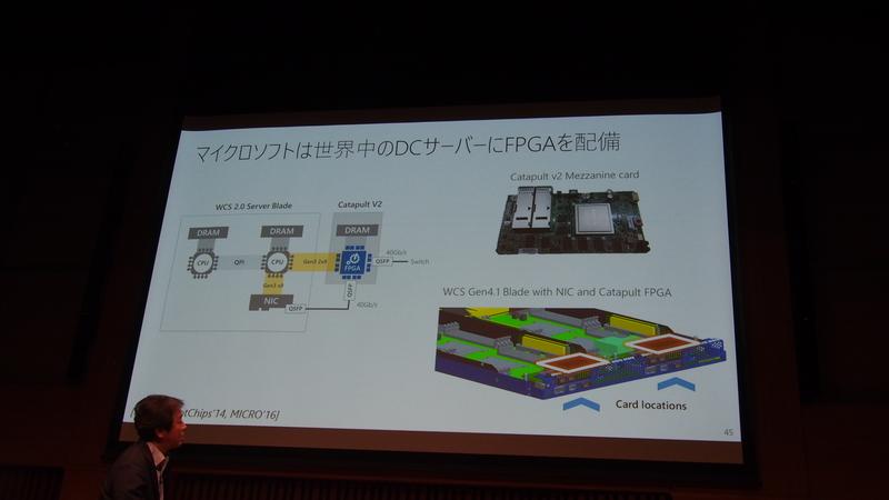 図5 マイクロソフトがAzureで標準的に利用しているサーバーには、Catapultと呼ばれるカードが搭載され、CPUとは独立してネットワークを介して処理を行えるようになっている(CPUと接続しているのは、FPGAへのアルゴリズムの書き込みの必要があるため)。